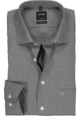 OLYMP Luxor modern fit overhemd, mouwlengte 7, zwart met wit mini dessin (contrast)