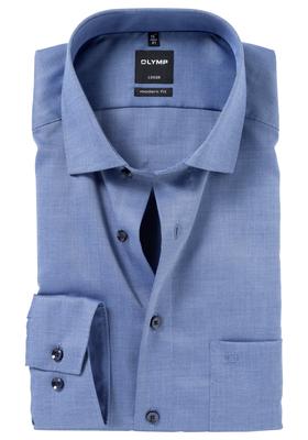 OLYMP Modern Fit overhemd, donker blauw natté (contrast)