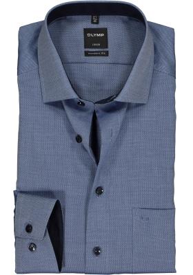 OLYMP Luxor modern fit overhemd, donkerblauw natté (contrast)