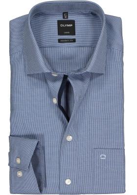 OLYMP Luxor modern fit overhemd, marine blauw met wit mini dessin (contrast)
