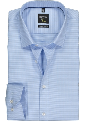 OLYMP No. 6 Six, Super Slim Fit overhemd, blauw geruit