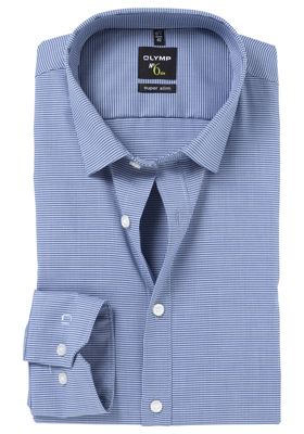 OLYMP No. 6 Six, Super Slim Fit overhemd, marine blauw geruit