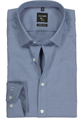 OLYMP No. Six super slim fit overhemd, marine blauw geruit