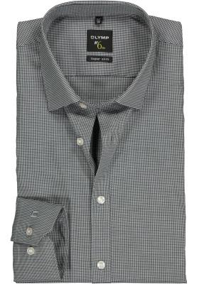 OLYMP No. Six super slim fit overhemd, zwart geruit