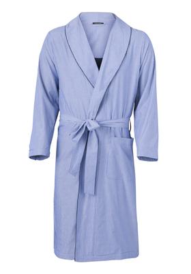 Schiesser heren ochtendjas, blauw-wit gestreept (dun)