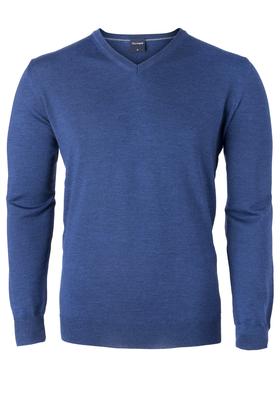 OLYMP modern fit trui wol, V-hals, indigo blauw