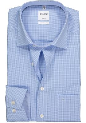 OLYMP Luxor Comfort Fit overhemd, lichtblauw met wit geruit (contrast)