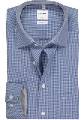 OLYMP Luxor comfort fit overhemd, donkerblauw met wit geruit (contrast)