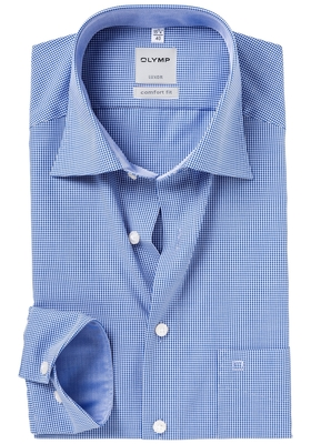 OLYMP Comfort Fit overhemd, donker blauw geruit (contrast)