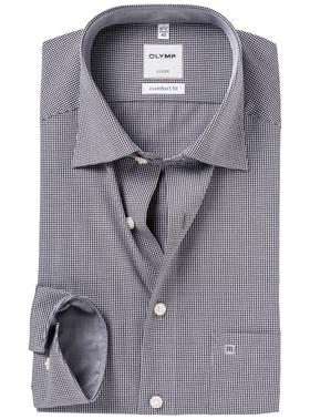 OLYMP Comfort Fit overhemd, zwart geruit (contrast)