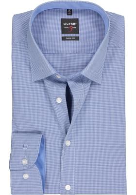 OLYMP Level 5 body fit overhemd, donkerblauw met wit mini ruitje (contrast)