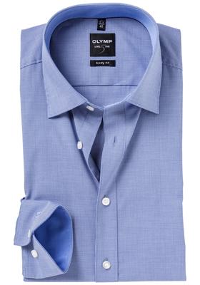 OLYMP Level 5 Body Fit overhemd, donker blauw geruit