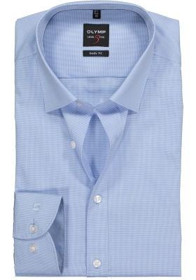 OLYMP Level 5 Body Fit overhemd, blauw geruit (contrast)