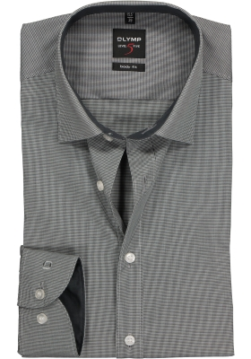 OLYMP Level 5 Body Fit overhemd, zwart geruit (contrast)