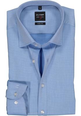OLYMP Level 5 body fit overhemd, blauw met diamant structuur