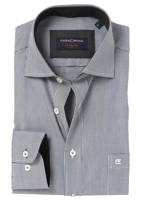 Casa Moda Comfort Fit overhemd, zwart gestreept (contrast)