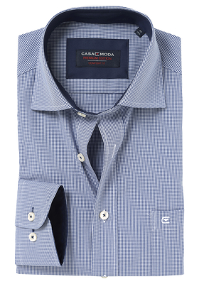 Casa Moda Comfort Fit overhemd, marine blauw geruit (contrast)