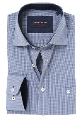 Casa Moda Comfort Fit overhemd mouwlengte 7, blauw geruit