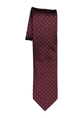 OLYMP smalle stropdas, bordeaux rood gestipt