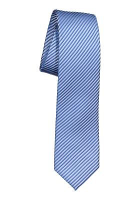 OLYMP smalle stropdas, blauw-wit gestreept