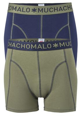 Muchachomalo boxershorts (2-pack), heren boxers normale lengte, blauw en olijfgroen