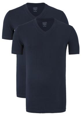 Claesen's T-shirts (2-pack), V-hals, blauw