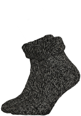 Homepads huissokken wol, zwart gemêleerd