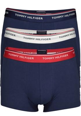 Tommy Hilfiger trunks (3-pack), heren boxers normale lengte, blauw met verschillende kleuren band