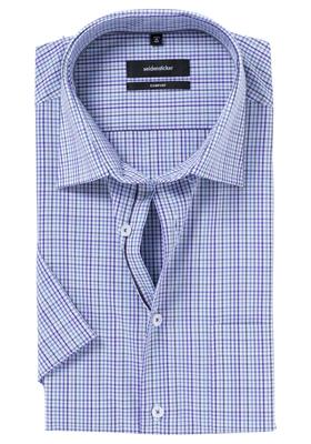 Seidensticker Comfort Fit overhemd, korte mouw, paars geruit