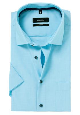 Seidensticker Comfort Fit overhemd, korte mouw, turquoise/blauw