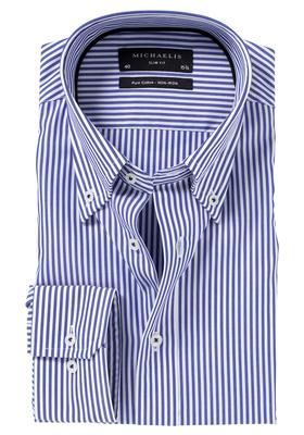 Michaelis Slim Fit overhemd, blauw-wit gestreept