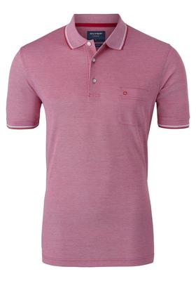 OLYMP Modern Fit poloshirt, fuchsia roze gemêleerd