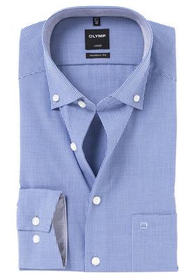 OLYMP Modern Fit overhemd, donker blauw geruit (contrast)