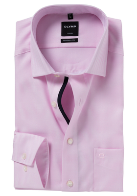 OLYMP Modern Fit overhemd, mouwlengte 7, roze motief