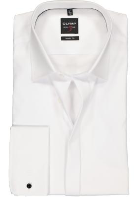 OLYMP Level 5 body fit overhemd, smoking overhemd, wit, gladde stof met Kent kraag