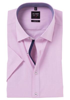 OLYMP Level 5 overhemd korte mouwen, roze contrast