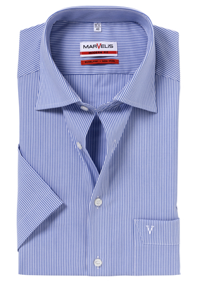 MARVELIS modern fit overhemd, korte mouw, blauw-wit gestreept