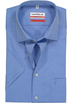 MARVELIS modern fit overhemd, korte mouw, jeans blauw