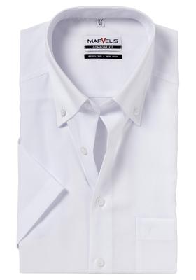 MARVELIS Comfort Fit, overhemd korte mouw, wit (button-down)