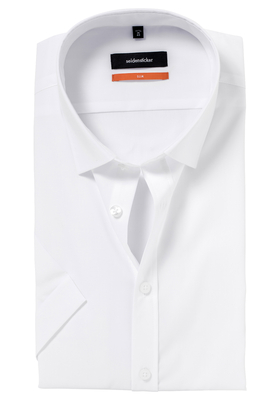 Seidensticker Slim Fit overhemd korte mouw, wit Fil à Fil