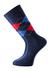 Voorbeeld van de blauw - rood geruite sokken