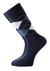 Voorbeeld van de blauw geruite sokken