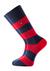 Voorbeeld van de rood - blauw gestreepte sokken