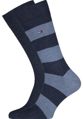 Tommy Hilfiger Rugby Stripe Socks (2-pack), herensokken katoen gestreept en uni, jeans blauw