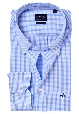 Arrow Regular Fit casual overhemd, blauw geruit (button-down)