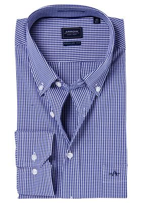 Arrow Regular Fit casual overhemd, navy geruit (button-down)