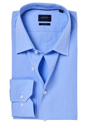 Arrow Slim Fit overhemd, blauw fijn geruit