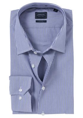 Arrow Fitted overhemd, navy blauw gestreept
