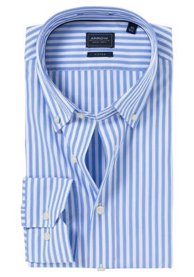 Arrow Fitted overhemd, blauw-wit gestreept (button-down)