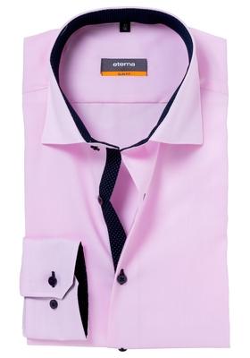 Eterna Slim Fit overhemd, roze (fijn Oxford / contrast)
